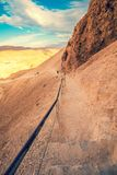 Pathway at Masada fortress. Israel. The ascent to Masada from the west side stock images