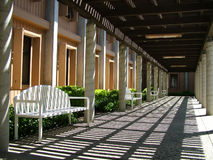 Pathway - Mediterranean Style. Outdoor pathway with benches Stock Photos