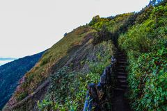 Pathway on Mountain With Blue Wooden Handrails at Daytime Stock Image