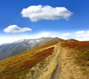 Pathway on mountain ridge Royalty Free Stock Image