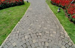 Pathway in park. Concrete block pathway in the park Stock Image
