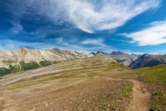 Pathway on Parker Ridge. View along lonely Parker Ridge Trail in the Canadian Rocky Mountains Stock Photo