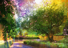 Pathway in a peaceful green park,painting Stock Photo