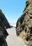 Pathway in Rock Fissure During Low Tide royalty free stock photography