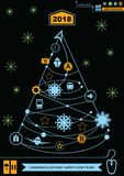 Pathway in the shape of christmas tree. Bright neon christmas logistics icons on the black background. Technology background. Royalty Free Stock Images