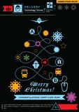 Pathway in the shape of christmas tree. Bright neon christmas logistics icons on the black background. Technology background. Ico. Christmas neon technology Stock Photos