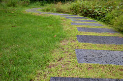 Pathway of stone bricks in a grass field Royalty Free Stock Photo