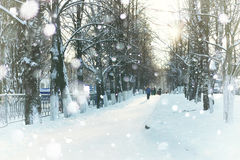 Pathway street winter snow Royalty Free Stock Photography