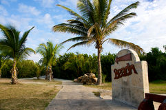 Pathway to the beach. Directions and path to tropical beach Stock Photography