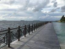 Pathway to beach Maldives Stock Photo