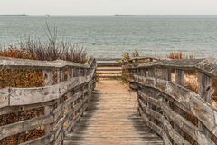 Pathway to Beach with Ocean at First Landing State Park stock photo