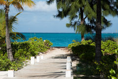 Pathway to beach. Pathway to the beach at the Turks and Caicos resort. Horisontal Stock Image