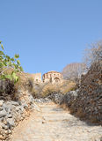 The pathway to church of Agia Sofia at Monemvasia Stock Photography