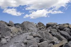 Pathway to the Clouds. A rocky pathway Stock Photo