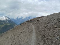 Pathway to Hörnli Hut with MatterPathway to Hörnli Hut,  Wallis Alps Royalty Free Stock Photography