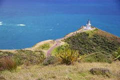 Pathway to lighthouse at Cape Reinga, Northland, New Zealand Royalty Free Stock Photo