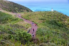 Pathway to lighthouse at Cape Reinga, Northland, New Zealand Royalty Free Stock Images