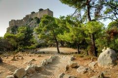 Pathway to Monolithos castle Stock Photo