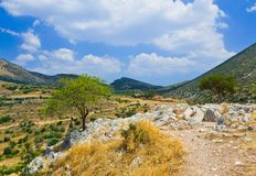 Pathway to mountains in Mycenae, Greece Stock Image