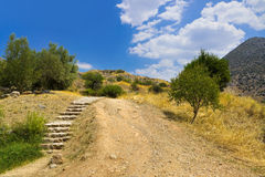 Pathway to Mycenae ruins, Greece Royalty Free Stock Photography