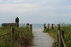 Pathway to oceanfront on Turtle Beach, FL. Beautiful beach in Florida, and pathway leading up to it with roped barrier Royalty Free Stock Image