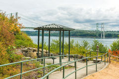 Pathway to the park in  Narrows steel bridge area in Tacoma,Washington,USA.. Royalty Free Stock Photography