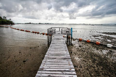 Pathway to the Sea on a Cloudy Day. Pathway to the sea at Seashell Village resort in Chanthaburi province, Thailand Royalty Free Stock Images