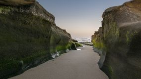 Pathway to the sea. The low tide at La Jolla, California reveals a pathway to the Pacific ocean Stock Image