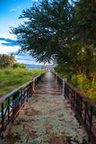 Pathway to the sea. In the morning Stock Photo