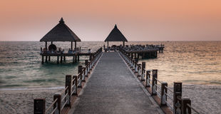 Pathway to the sea, Sihanoukville beach, Cambodia. Stock Photography
