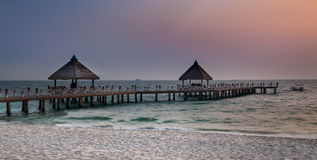 Pathway to the sea, Sihanoukville beach, Cambodia. Royalty Free Stock Images