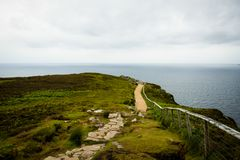 Pathway to see Slieve League. A view of a Slieve League pathway, with a fearkiller fence and the stones walk stock photography