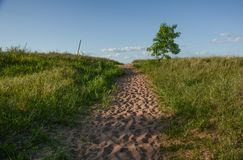 Pathway to the Shore of Lake Superior. A sandy well traveled pathway to the shore of Lake Superior near Superior, Wisconsin Royalty Free Stock Image