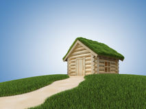 Pathway to small wooden house with grassy roof Stock Photo