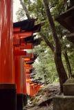 Pathway through Torii in Kyoto at Fushimi Inari Taisha shrine  stock photo
