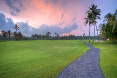 Pathway in tropical part at sunset. Golf field during sunset time, Bali, Indonesia. HDR photography Stock Photography