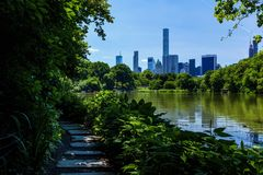 NYC Central Park. Pathway trough the NYC Central Park royalty free stock photography