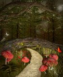 Pathway under the bridge. Fantasy foothpath in the middle of the forest Stock Image
