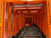 Pathway under the Torii Gate of Fushi Inari Shrine Royalty Free Stock Photos