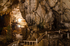 Pathway underground cave in Laos, with stalagmites and stalactit Royalty Free Stock Photo