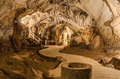 pathway underground cave in Laos, with stalagmites Stock Photo