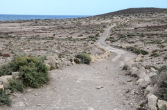 Pathway in the Volcanic Desert Stock Images