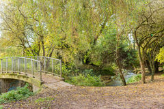 Pathway a walk bridge in a local park Autumn time Royalty Free Stock Photos