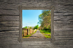 Pathway and wooden window stock photography