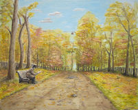 Pathway through the woods in Autumn. Oil painting illustrating a pathway through the woods clothed in Autumn colors with a character seated on a bench beside the Stock Photo