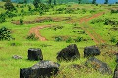 Pathways on a mountain top royalty free stock photo