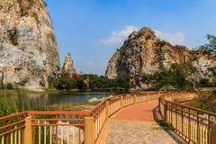 Pathways in Stone Park Kao-ngu, Ratchaburi Thailand. Royalty Free Stock Images