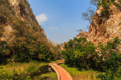 Pathways in Stone Park Kao-ngu, Ratchaburi Thailand. Royalty Free Stock Image