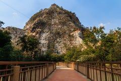 Pathways to mountain  in Stone Park Kao-ngu, Ratchaburi Thailand Stock Photo