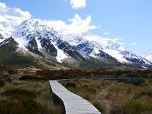 Mt.Cook. Pathways during walks. You can touch this feeling by yourself. awesome Stock Images